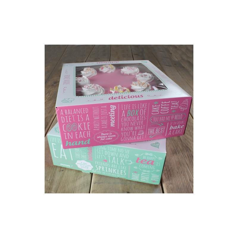 Caja Para Tartas Diseño Quotes 26x26x12 cm