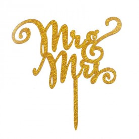 Cake Topper Acrílico Mr & Mrs 3 Oro