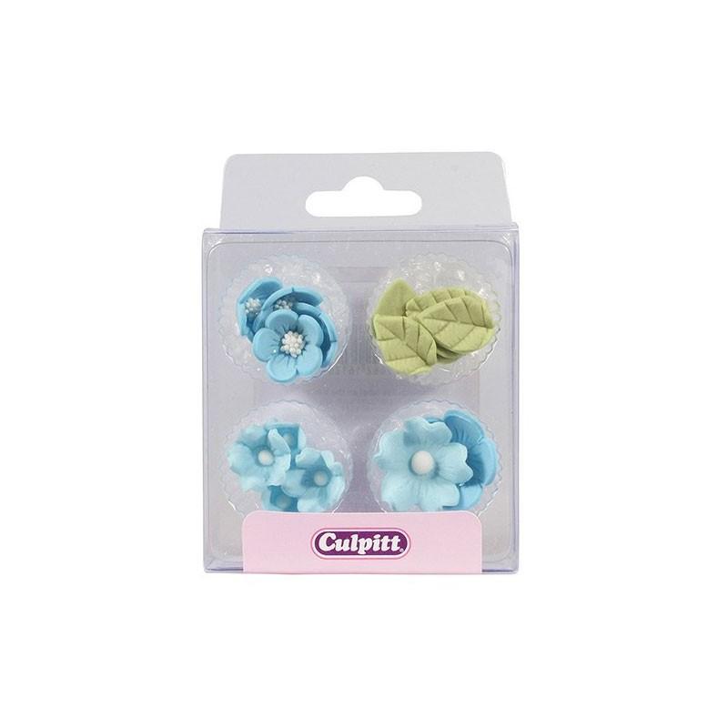 Decoraciones de Azúcar - Flores y Hojas Azules 16 u. Culpitt