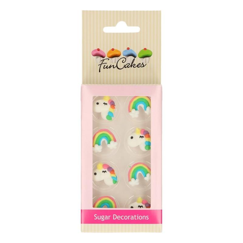 Set Decoraciones de Azúcar Unicornio y Arcoiris