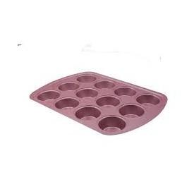 Molde de Acero Rosa Para 12 Cupcakes