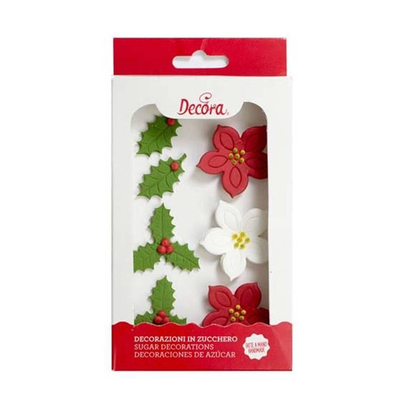 Decoraciones de Azúcar Flor de Pascua y Acebo. 7 unidades