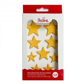 Decoraciones de Azúcar Estrellas Doradas. 9 unidades