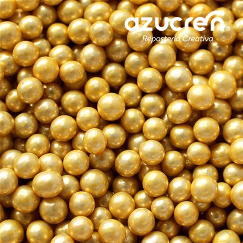 Perlas Oro Metalizadas Azucren 4 mm.90 gramos.
