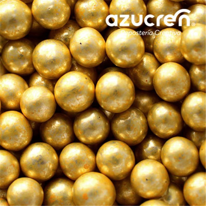 Perlas Oro Metalizadas Azucren 6 mm. 90 gramos.