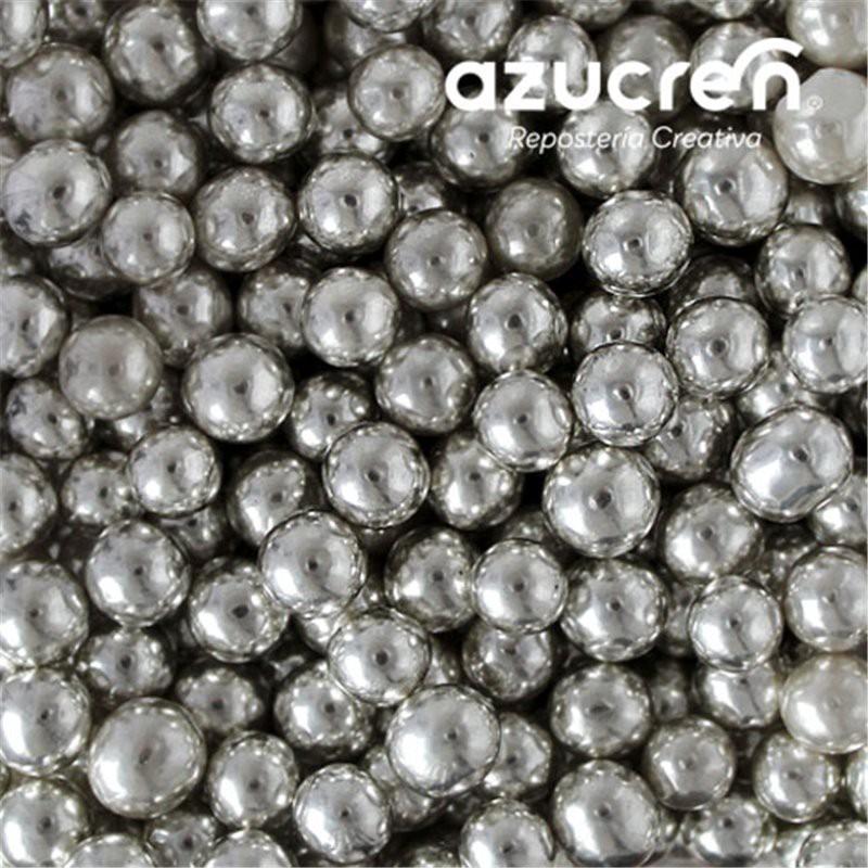 Perlas Plata Metalizada Azucren 6 mm. 90 gramos.