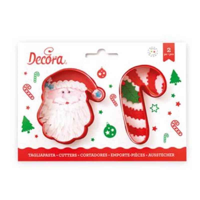 Set 2 Cortadores de Plástico Papa Noel y Bastón Decora