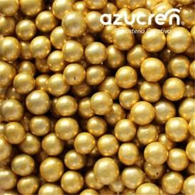 Perlas Azúcar Oro Metalizadas 6 mm