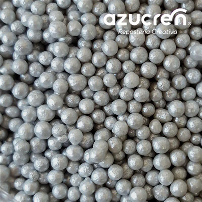 Perlas Azúcar Plata/Gris 4 mm