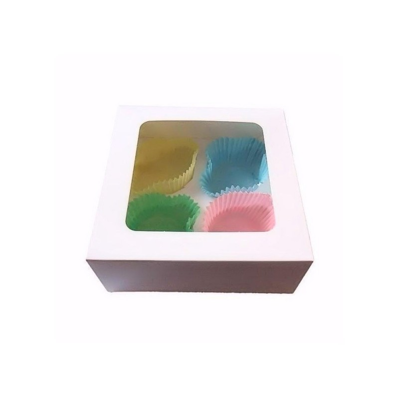 Caja para 4 Cupcakes con ventana Tartadictos